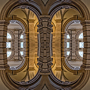 Computer abstract of altered and enhancement of Arched Doorways  as digital computer art.<br /> <br /> Two or more layers were used to enhance, alter, manipulate the image, creating an abstract surrealistic mirrored symmetry.