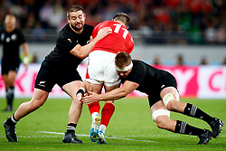 Dane Coles of New Zealand (All Blacks) and Sam Cane of New Zealand (All Blacks) tackling Josh Adams of Wales during the Bronze Final match between New Zealand and Wales Mandatory by-line: Steve Haag Sports/JMPUK - 01/11/2019 - RUGBY - Tokyo Stadium - Tokyo, Japan - New Zealand v Wales - Bronze Final - Rugby World Cup Japan 2019