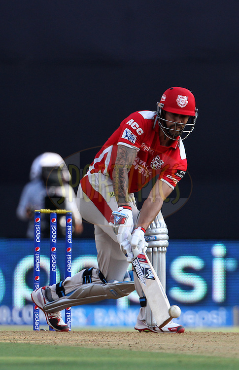 Mitchell Johnson of the Kings X1 Punjab plays a shot during match 22 of the Pepsi Indian Premier League Season 2014 between the Mumbai Indians and the Kings XI Punjab held at the Wankhede Cricket Stadium, Mumbai, India on the 3rd May  2014<br /> <br /> Photo by Vipin Pawar / IPL / SPORTZPICS<br /> <br /> <br /> <br /> Image use subject to terms and conditions which can be found here:  http://sportzpics.photoshelter.com/gallery/Pepsi-IPL-Image-terms-and-conditions/G00004VW1IVJ.gB0/C0000TScjhBM6ikg