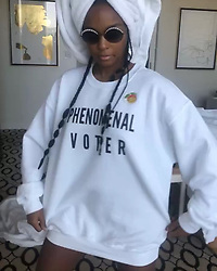 """Janelle Monae releases a photo on Instagram with the following caption: """"Go @staceyabrams \u0026 @andrewgillum !! @ me if you voted ! I\u2019ll repost on my stories . :) i wanna see u . Also tag #whenweallvote \u0026 #votewithus (shout out to my sis\u2019 @aliciakeys \u0026 @americaferrera) \nThank you so much @phenomenal.ly for this sweatshirt ! \ud83d\udd32\ud83d\udd33\u25fe\ufe0f\u25fc\ufe0f\u26aa\ufe0f"""". Photo Credit: Instagram *** No USA Distribution *** For Editorial Use Only *** Not to be Published in Books or Photo Books ***  Please note: Fees charged by the agency are for the agency's services only, and do not, nor are they intended to, convey to the user any ownership of Copyright or License in the material. The agency does not claim any ownership including but not limited to Copyright or License in the attached material. By publishing this material you expressly agree to indemnify and to hold the agency and its directors, shareholders and employees harmless from any loss, claims, damages, demands, expenses (including legal fees), or any causes of action or allegation against the agency arising out of or connected in any way with publication of the material."""