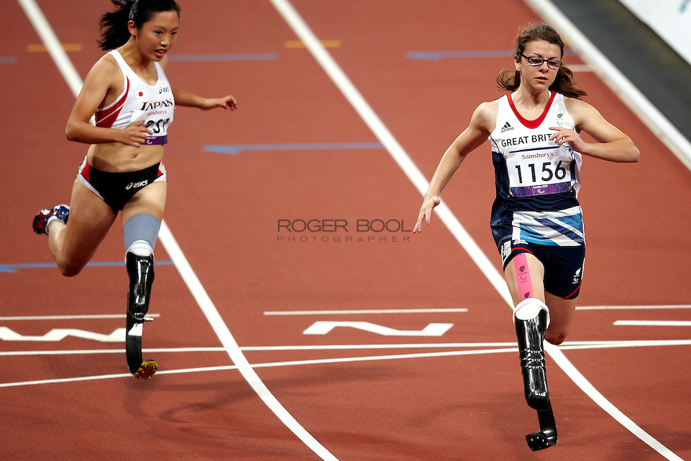 L - R Saki Takakuwa of Japan and Sophie Kamlish of Great Britain in the Women's 100 meter T 44 Final at the Olympic Stadium on day 4 of the London 2012 Paralympic Games. 2nd September 2012