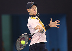 BEIJING, Oct. 5, 2018  Kyle Edmund of Britain hits a return during the men's singles quarterfinal match against Dusan Lajovic of Serbia at China Open tennis tournament in Beijing, China, Oct. 5, 2018. Kyle Edmund won 2-0. (Credit Image: © Xinhua via ZUMA Wire)