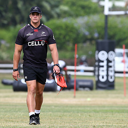 DURBAN, SOUTH AFRICA - JANUARY 23: Kieren Van Vuuren during the Cell C Sharks training session at Growthpoint Kings Park on January 23, 2018 in Durban, South Africa. (Photo by Steve Haag/Gallo Images)