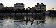 2005 FISA Team Cup, Rio Guadalquiver Rowing Course, Seville, SPAIN, 19.02.2005. Training Day;GBR W2X Sarah Wickless [left] and Kate Grainger. early morniing training session. Photo  Peter Spurrier. .email images@intersport-images. Sunrise, Sunsets, Silhouettes