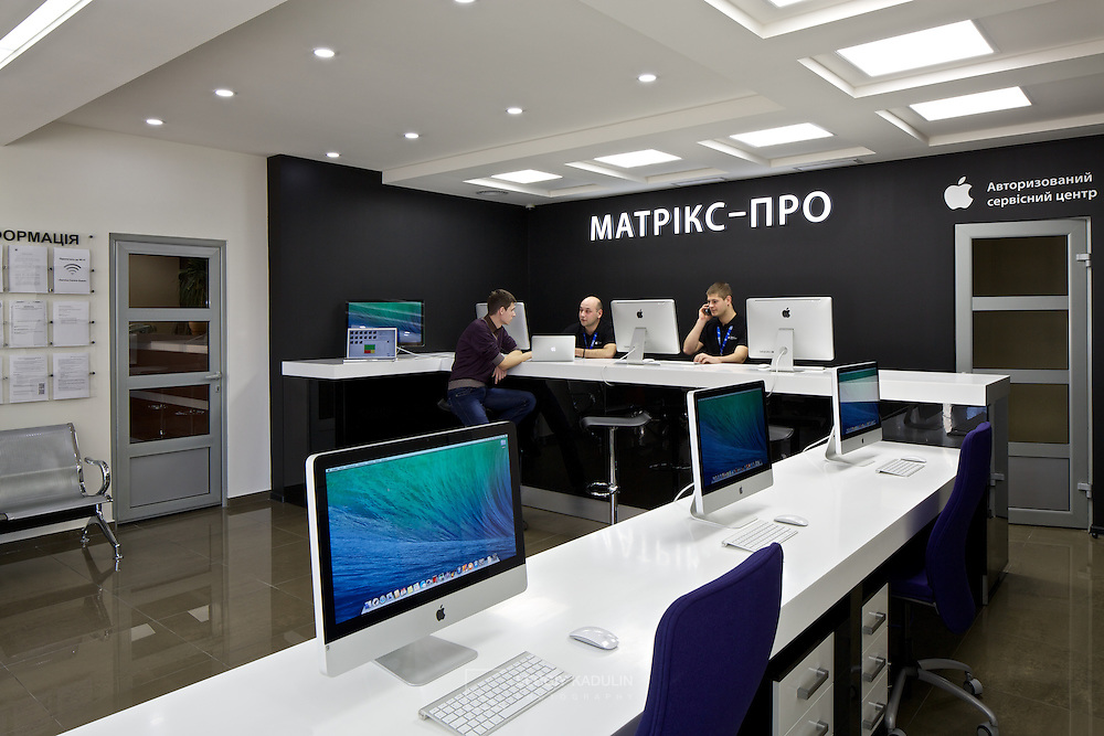 Apple service and repair centre, interior view. Located in Kyiv, Ukraine