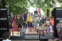 Winners of the Team event at the Brompton World Championships During  the Prudential RideLondon FreeCycle, Saturday 1st August 2015. <br /> 1st Place Brompton Factory Racing Team<br /> 2nd Place Joesph Kuosac Brompton Team<br /> 3rd Place Brompton Design Racing<br /> <br /> Prudential RideLondon is the world's greatest festival of cycling, involving 95,000+ cyclists – from Olympic champions to a free family fun ride - riding in five events over closed roads in London and Surrey over the weekend of 1st and 2nd August 2015. <br /> <br /> Photo: Paul Gregory<br /> <br /> See www.PrudentialRideLondon.co.uk for more.<br /> <br /> For further information: Penny Dain 07799 170433<br /> pennyd@ridelondon.co.uk