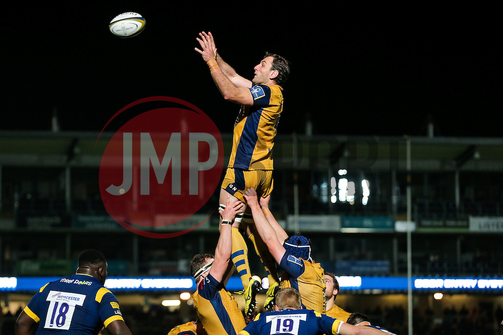 Giorgi Nemsadze of Bristol Rugby wins a lineout - Rogan Thomson/JMP - 04/11/2016 - RUGBY UNION - Sixways Stadium - Worcester, England - Worcester Warriors v Bristol Rugby - The Anglo Welsh Cup.