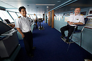 Aboard the Rhapsody of the Seas, on a cruise from Vancouver to Hawaii. A visit at the Bridge: Captain Rick Sullivan.