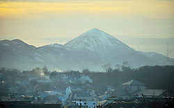 A Stretch in the Evening, A view across Westport with the Imposing backdrop of the Reek.<br /> Pic Conor McKeown