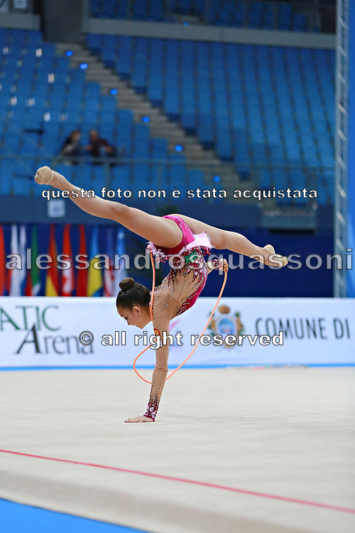 """Ayupova Ekaterina during rope routine at the International Tournament of rhythmic gymnastics """"Città di Pesaro"""", 01 April, 2016. Ekaterina is a Russian individualistic gymnast, born on August 31, 2002 in St. Petersburg.<br /> This tournament dedicated to the youngest athletes is at the same time of the World Cup."""