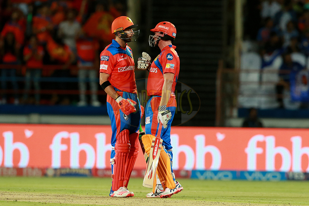 James Faulkner of GL and Andrew Tye of GL  during match 35 of the Vivo 2017 Indian Premier League between the Gujarat Lions and the Mumbai Indians  held at the Saurashtra Cricket Association Stadium in Rajkot, India on the 29th April 2017<br /> <br /> Photo by Rahul Gulati - Sportzpics - IPL