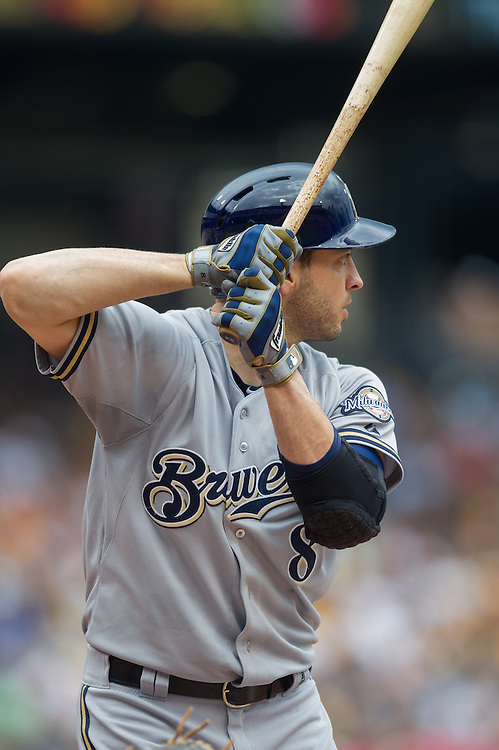 PITTSBURGH, PA - JUNE 08: Ryan Braun #8 of the Milwaukee Brewers bats during the game against the Pittsburgh Pirates at PNC Park on June 8, 2014 in Pittsburgh, Pennsylvania. (Photo by Rob Tringali) *** Local Caption *** Ryan Braun