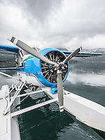 A float plane resting in Geographic Harbor, Katmai National Park, Alaska.