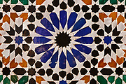 Typical vivid coloured mosaic tiles in Marrakech