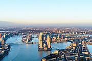 Nederland, Zuid-Holland, Rotterdam, 07-02-2018; Rotterdam centrum, Stadsdeel Feijenoord in winters avondlicht, bij zonsondergang.  Katendrecht, Maashaven (re) en Rijnhaven. Zicht op Kop van Zuid, Noordereiland, Nieuwe Maas, binnenstad.<br /> South Rotterdam, with former harbour quarter Katendrecht.<br /> luchtfoto (toeslag op standard tarieven);<br /> aerial photo (additional fee required);<br /> copyright foto/photo Siebe Swart