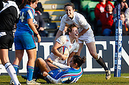 Hannah Gallagher of England Women (centre) celebrates scoring a try during the Women's RBS 6 Nations match at Twickenham Stoop , London<br /> Picture by David Horn/Focus Images Ltd +44 7545 970036<br /> 15/02/2015