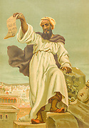 Muhammad (c. 570 CE – 8 June 632 CE) was an Arab religious, social, and political leader and the founder of Islam from La ciencia y sus hombres : vidas de los sabios ilustres desde la antigüedad hasta el siglo XIX T. 1 [Science and it's people Vol 1] by Luis Figuier ; traducción de la tercera edición francesa por Pelegrin Casabó y Pagés ; ilustrada por Armet, Gomez, Martí y Alsina, Planella, Puiggarí, Serra,  Printed in Barcelona in 1879