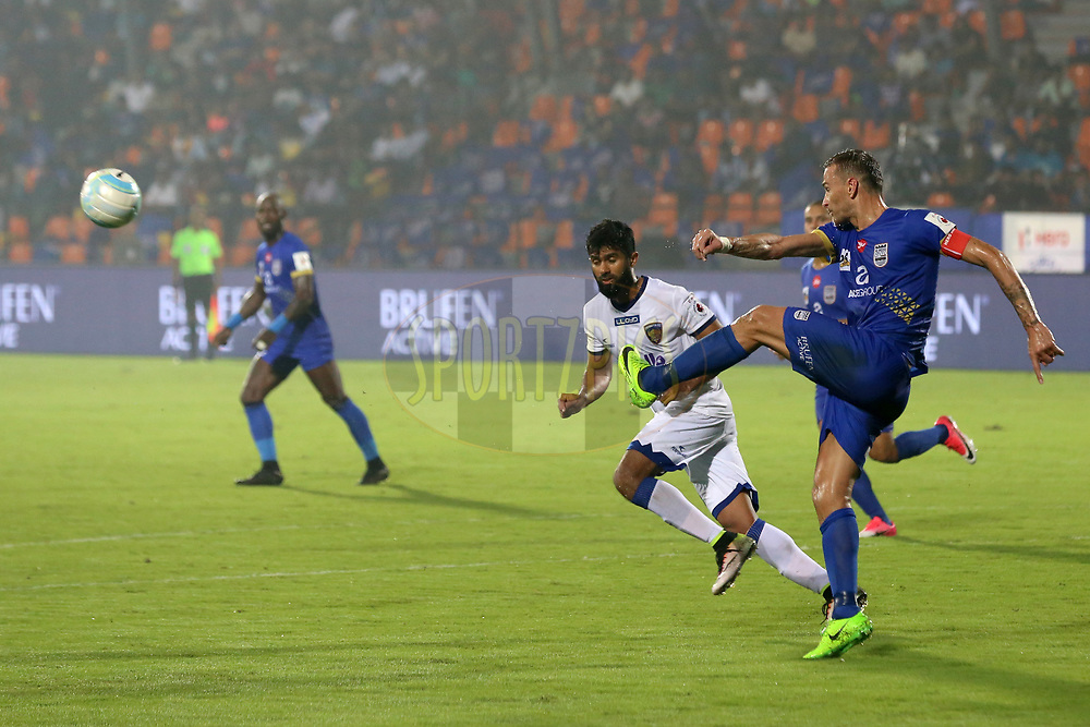 Lucian Goian of Mumbai City FC  in action during match 22 of the Hero Indian Super League between Mumbai City FC and Chennaiyin FC  held at the Mumbai Football Arena, Mumbai India on the 10th December 2017<br /> <br /> Photo by: Faheem Hussain / ISL / SPORTZPICS