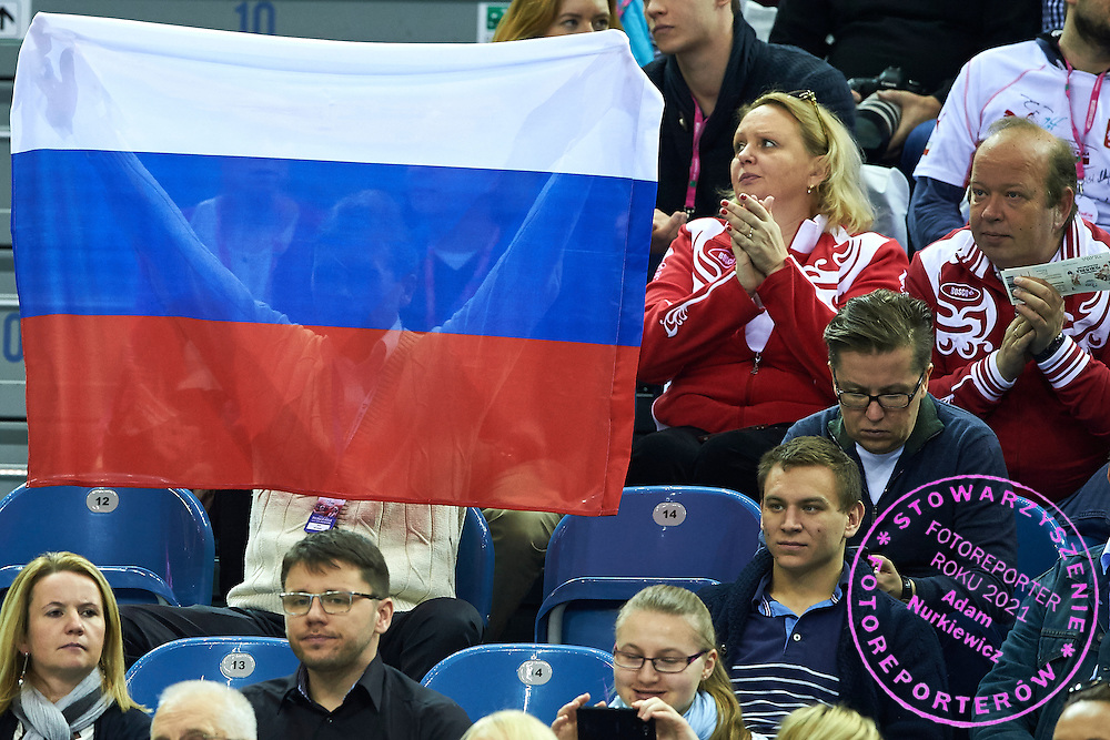 Supporters from Russia during First Day of the Fed Cup / World Group 1st round tennis match between Poland and Russia at Tauron Krakow Arena on February 7, 2015 in Cracow, Poland.<br /> <br /> Poland, Cracow, February 7, 2015<br /> <br /> Picture also available in RAW (NEF) or TIFF format on special request.<br /> <br /> For editorial use only. Any commercial or promotional use requires permission.<br /> <br /> Adam Nurkiewicz declares that he has no rights to the image of people at the photographs of his authorship.<br /> <br /> Mandatory credit:<br /> Photo by &copy; Adam Nurkiewicz / Mediasport