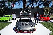 August 2014: Pebble Beach Concours. Lamborghini CEO Stephan Winkelmann and the new Lamborghini Huracan GT3 car