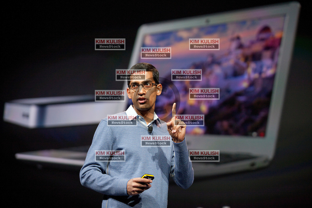 Google SVP of Chrome Sundar Pichai, introduces new products and improvements for Chrome, including the Chomebook and the Chromebox during the Google I/O Developer Conference in San Francisco, California.