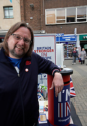 UK ENGLAND CANTERBURY 14MAY16 - Ray Douglas (40), a volunteer for the Vote Remain campaign poses for a photo at their stall in Canterbury High Street.<br /> <br /> jre/Photo by Jiri Rezac<br /> <br /> &copy; Jiri Rezac 2016
