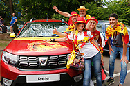 Fans of Catalan Dragons pose for a photo ahead of the fixture against Salford Red Devils during the Betfred Super League match at the Dacia Magic Weekend, St. James's Park, Newcastle<br /> Picture by Stephen Gaunt/Focus Images Ltd +447904 833202<br /> 20/05/2018