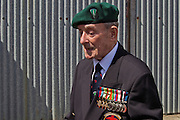 William Mellow, Dieppe Raid Veteran at the 71st Anniversary of the Dieppe Raid held at Newhaven Fort, East Sussex followed by a Memorial Service at the Canadian Memorial at South Way. March of the Standard Bearers and Veterans from Denton Island to the Memorial