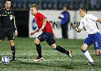 Fotball , 10. oktober 2011 , U21  EM-kvalifisering<br />Norge - England 1-2<br />Euro qual. U21<br />Norway - England<br />Marcus Pedersen , Norge og Vitesse <br />Ryan Bennett , England