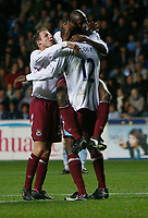 Photo: Steve Bond.<br />Coventry City v West Ham United. Carling Cup. 30/10/2007. Carlton Cole (12) celebrates his late winner