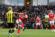 Barnsley forward Ivan Toney strikes at goal during the Sky Bet League 1 match between Burton Albion and Barnsley at the Pirelli Stadium, Burton upon Trent, England on 16 April 2016. Photo by Aaron  Lupton.