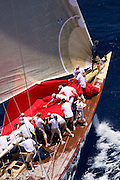 J Class Velsheda sailing the Old Road Race at the Antigua Classic Yacht Regatta.