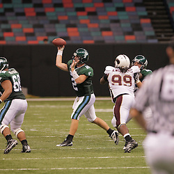 20 September 2008: Tulane quarterback Kevin Moore (2) throws a pass during a Conference USA match up between the University of Louisiana Monroe and Tulane at the Louisiana Superdome in New Orleans, LA.