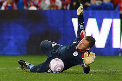 Oct 20, 2011; Harrison, NJ, USA;  New York Red Bulls goalkeeper Frank Rost (1) warms up before the game against the Philadelphia Union at Red Bull Arena. Mandatory Credit: Jason O. Watson-US PRESSWIRE