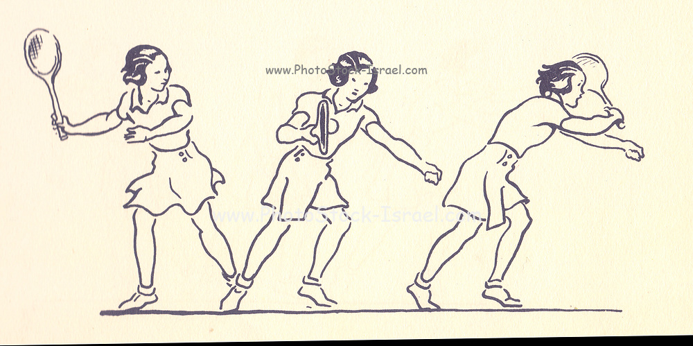 Forehand illustrations from Lawn Tennis. May I Introduce you? How to play tennis book by Evelyn Dewhurst with sketches by Aubrey Weber. Published in London by Sir Isaac Pitman & Sons in 1940