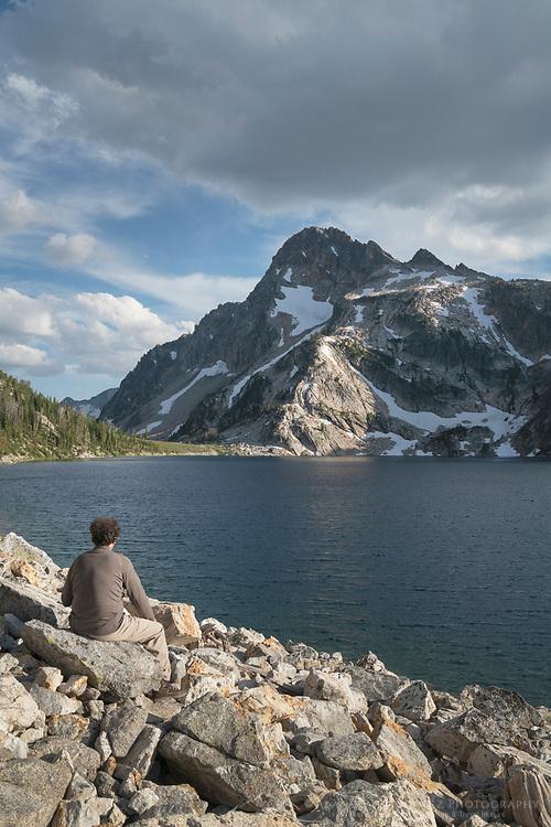 Hiker at Sawtooth Lake, Sawtooth Wilderness Idaho
