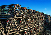 Stack of traditional wooden lobster traps, Cape Cod, Massachusetts, USA.