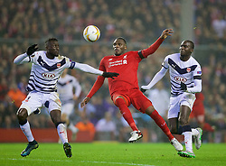 LIVERPOOL, ENGLAND - Thursday, November 26, 2015: Liverpool's Christian Benteke in action against FC Girondins de Bordeaux during the UEFA Europa League Group Stage Group B match at Anfield. (Pic by David Rawcliffe/Propaganda)