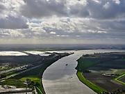 Nederland, Zuid-Holland, Dordrecht, 25-02-2020; Dordsche Kil gezien naar het Hollandsch Diep met Moerdijkbruggen. Links Rijksweg A16, rechts de Hoeksche Waard. <br /> Dordse Kil seen to the Hollands Diep. Left motorway A16, right polder Hoeksche Waard.<br /> luchtfoto (toeslag op standard tarieven);<br /> aerial photo (additional fee required)<br /> copyright © 2020 foto/photo Siebe Swart