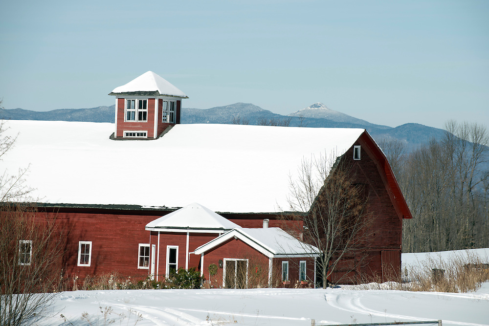 Winter in the Mad River Valley with Camel's Hump in background, Waitsfield, Vermont.