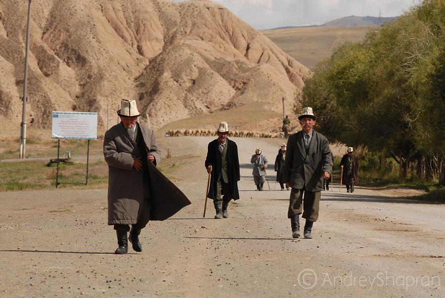 Telek village. Old men