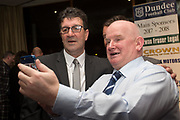 09/02/2017 - Cammy Fraser poses for a 'selfie' with a fan at Dundee FC Hall of fame dinner at the Invercarse Hotel, Dundee  Picture by David Young -