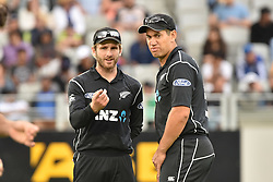 March 4, 2017 - Auckland, New Zealand - Kane Williamson (L) and Ross Taylor (R) of New Zealand during the final match of  One Day International series between New Zealand and South Africa at Eden Park on March 4, 2017 in Auckland, New Zealand (Credit Image: © Shirley Kwok/Pacific Press via ZUMA Wire)