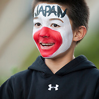 23 March 2009: A young fan of team Japan is seen prior to the 2009 World Baseball Classic final game at Dodger Stadium in Los Angeles, California, USA. Japan defeated Korea 5-3