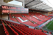 A general view of Anfield Stadium before the Champions League Round of 16, Second Leg match between Liverpool and Real Madrid at Anfield on March 10, 2009 in Liverpool, England