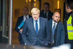 © Licensed to London News Pictures. 29/09/2019. Manchester, UK. Prime Minister Boris Johnson leaves the Midland hotel on the first day of the Conservative Party Conference at Manchester Central in Manchester. Photo credit: Andrew McCaren/LNP