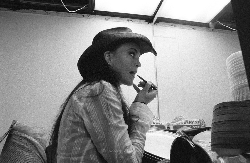 Singer Stacie Collins backstage getting ready for her performance. Nashville, 2004
