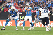 Los Angeles Chargers quarterback Phillip Rivers (17) passes the ball during the International Series match between Tennessee Titans and Los Angeles Chargers at Wembley Stadium, London, England on 21 October 2018.