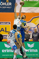 03.12.2017, Walfersamhalle, Kapfenberg, AUT, ABL, ece Bulls Kapfenberg vs UBSC Raifeisen Graz, 10. Runde, im Bild v.l.: Marck Coffin (Kapfenberg), Milan Stegnjaic (Kapfenberg), Darien Nelson-Henry (Graz) // during the ABL, 10 th round, between ece Bulls Kapfenberg and UBSC Raifeisen Graz at the Sportscenter Walfersam, Kapfenberg, Austria on 2017/12/03, EXPA Pictures © 2017, PhotoCredit: EXPA/ Dominik Angerer
