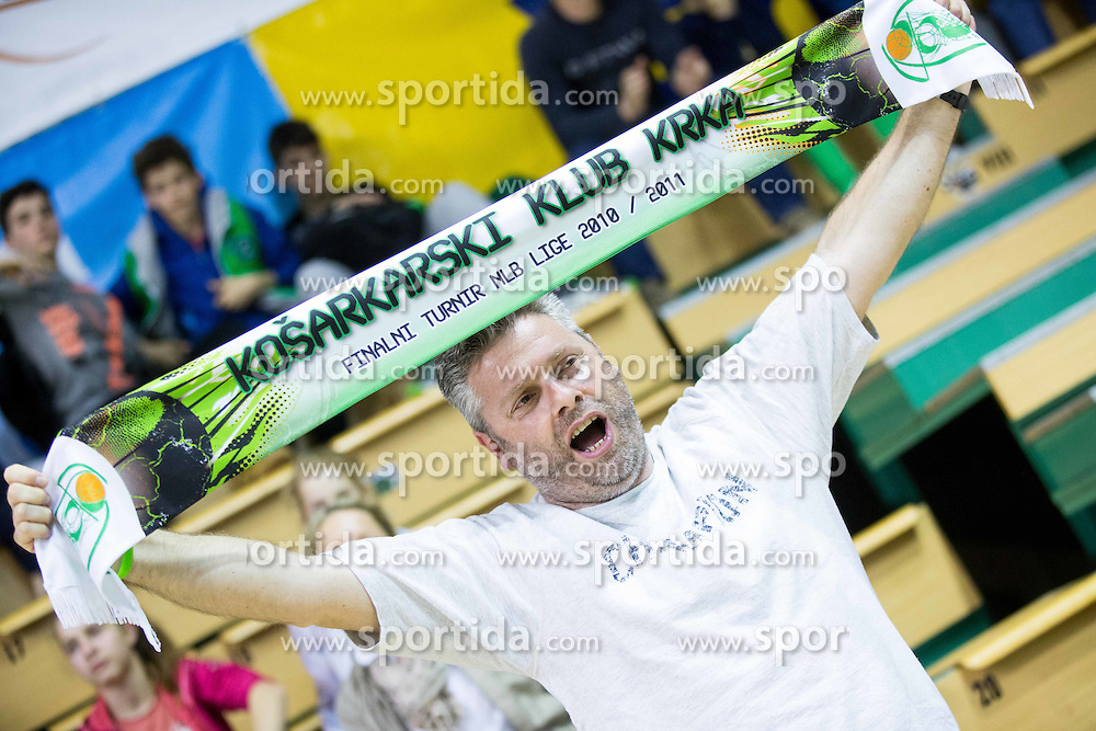 Fan of Krka during basketball match between KK Krka and KK Union Olimpija in 10th Round of Slovenian National Championship 2013/14, on April 28, 2014 in Dvorana Leona Stuklja, Novo mesto, Slovenia. Photo by Vid Ponikvar / Sportida